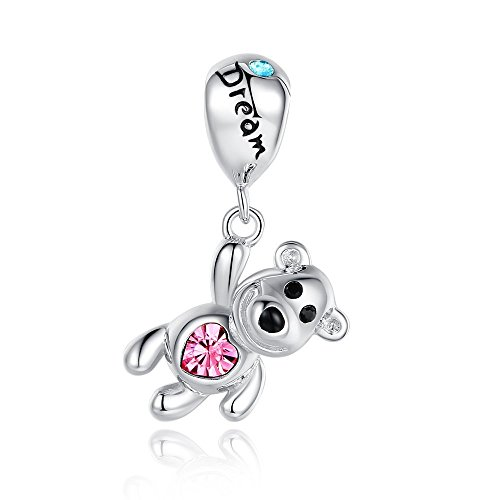 Glamulet Pink Crystal Dream Balloon Bear Pendant Sterling Silver Animal Charm Fits Bracelet & - Lucky Bear Charm Teddy