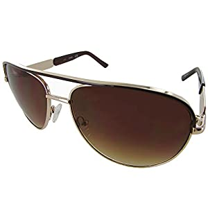 Guess Womens GF0287 Wire Frame Aviator Fashion Sunglasses, Gold/Brown
