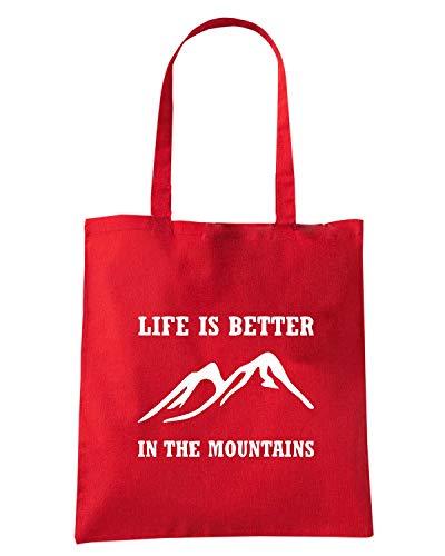 BETTER Shirtshock T PLUS IN Borsa MOUNTAINS Rossa Shopper FUN0753 aFpxqawR