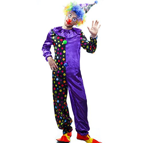 Mens Scary Clown Costumes - flatwhite Jolly Circus Clown Costume for