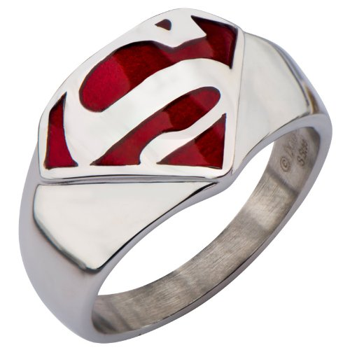 Stainless Steel and Red Enamel Signet Ring (SUPMFR8412) Size 12