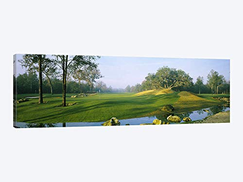 Streamside Kit - Wide-Angle View of Streamside Greens (10th 14th & 17th Holes) Haile Plantation Golf and Country Club Gainesville Florida - Canvas Wall Art Gallery Wrapped 60