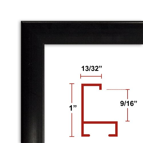 38 x 47 Shiny Black Poster Frame - Profile: #93 Custom Size Picture Frame by Poster Frame Depot
