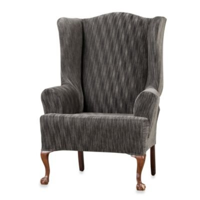 SureFit 41700 Space Dyed Stretch Pique Wing Chair Slipcover, Gray