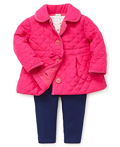 Little Me Baby Girl's Jacket Set Outerwear, magenta/medieval blue, 24 Months