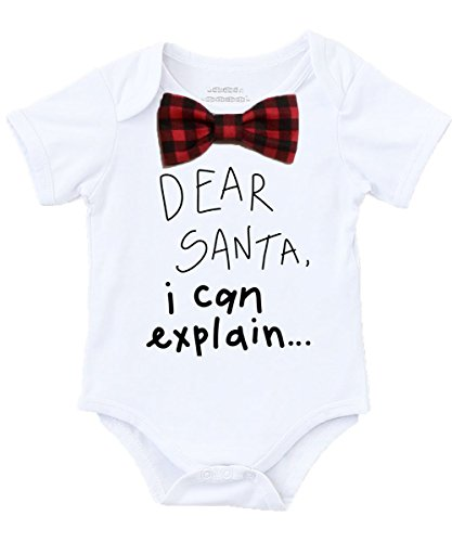 Noah's Boytique Baby Boy Christmas Outfit Dear Santa I Can Explain Buffalo Plaid Bow Tie No Suspenders 6-12 Months - No Santa Toddler Shirt