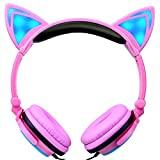 AutumnFall_Headphone,AutumnFall 3.5mm Foldable LED Music Lights Earphone Cat Ear Rechargeable Game Headset for Laptop MP3 MP4 (D)
