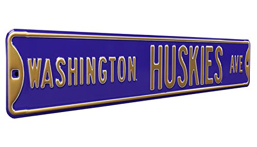Authentic Street Signs 70123 Washington Huskies Ave, Heavy Duty, Metal Street Sign Wall Decor, 36