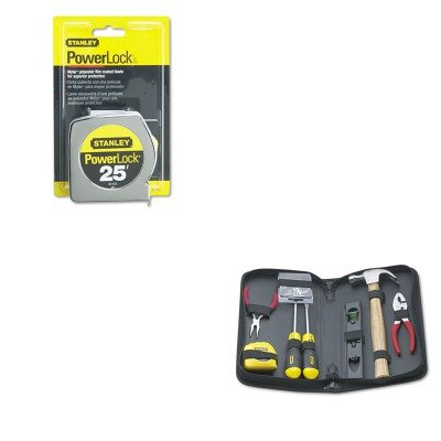 KITBOS33425BOS92680 - Value Kit - Powerlock II Power Return Rule, 1quot; x 25 ft., Chrome/Yellow (BOS33425) and Stanley General Repair Tool Kit in Water-Resistant Black Zippered Case (BOS92680)
