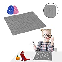dikale 3D Pen Mat Gray, 3D Printing Pen Silicone Design Mat with Basic and Animal Patterns, Large Silicone Mat with 2 Finger Protectors, 3D Pens Drawing Tools for Kids and 3D Pen Artists