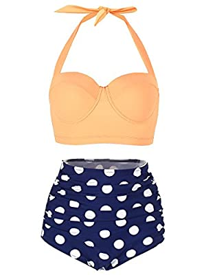 BOZEVON Women's Retro Polka Dot High Waisted Bikini Swimwear Swimming Costume