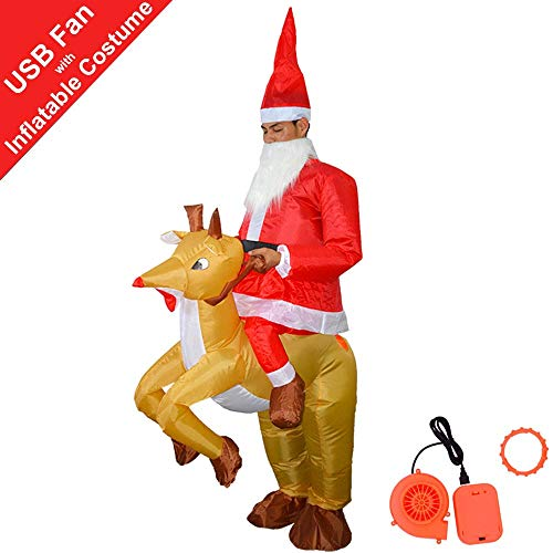 HUAYUARTS Elk Inflatable Costume Christmas Blow up Santa Suit Cosplay Adult Rider Suit, Plus Size