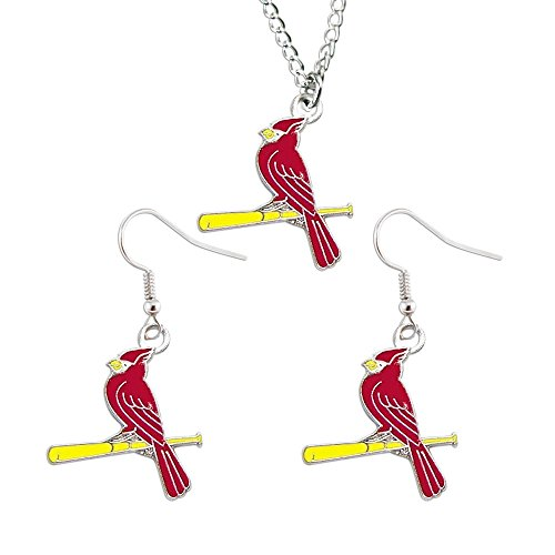 St Louis Cardinals Necklace and Dangle Earring Charm Set MLB by aminco