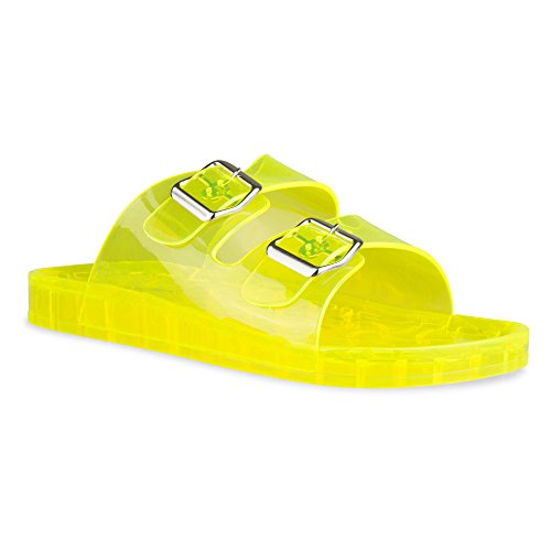 Twisted Women's Roxette Transparent Jelly Buckle Sandal - ROXETTE02 Yellow, Size 6