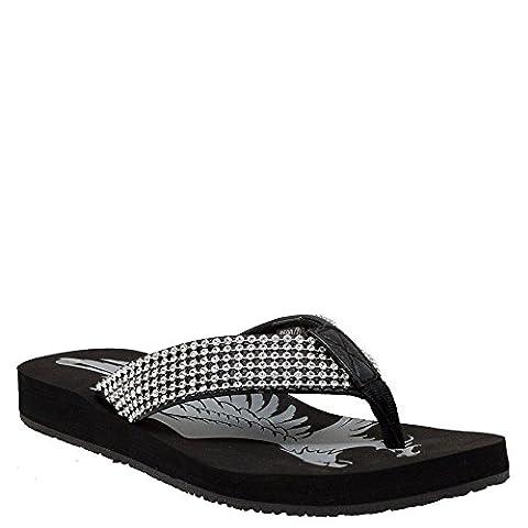 Ride Tecs Womens Black Jeweled Low Thong Sandal Synthetic 8 M