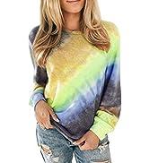 BLENCOT Women Crewneck Sweatshirts Long Sleeve Tie-dyed Sweatshirts Pullover Tops