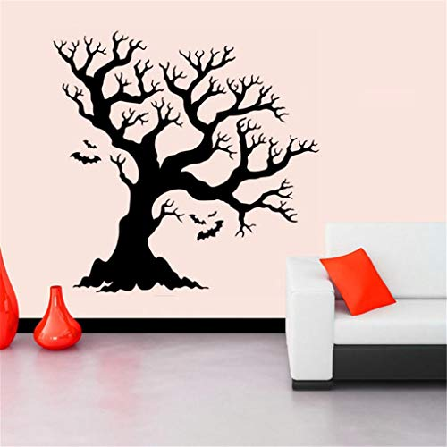 Franterd Halloween Wall Stickers Halloween Black Tree Bat Background Decorated Living Room Bedroom Window Wall Sticker - Happy Halloween -