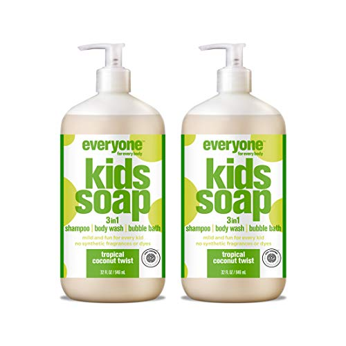 (Everyone 3-in-1 Soap for Every Kid Safe, Gentle and Natural Shampoo, Body Wash, and Bubble Bath, Tropical Coconut Twist, 2 Count )