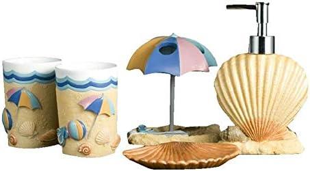FXin バスルームアクセサリー、樹脂素材のバスルームセット5、創造的な夏のビーチスタイルの家庭用クリーニングキット シャワー室