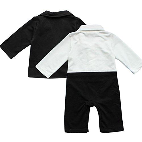 IEFiEL 2pcs Baby Boys Long Sleeve Tuxedo Wedding Romper and Jacket