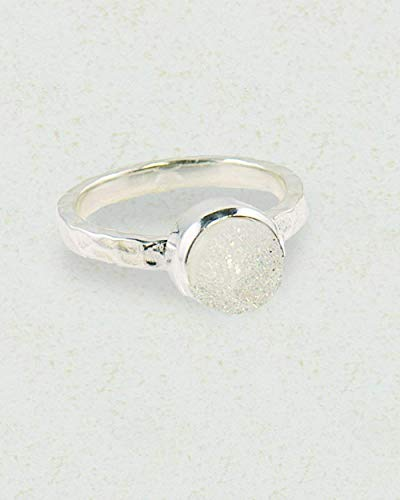 Sivalya TWINKLE Snow White Druzy Ring in 925 Sterling Silver - 10mm Stone - Exquisite Hammered Finish Ring in Solid Silver - Size 8 - Great Gift for Women