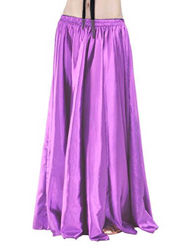 Satin Long Swing Skirt Purple Belly Dance Satin Long Dress Elastic Waistband Design Great Stage Effect