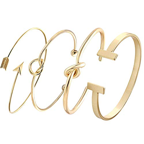 SENFAI Love Tie The Knot Simple Cuff Bracelet Bangles Gold Silver Rose Gold Easy Adjustable (4 pcs Set Gold Knot +Love Knot + Doublet + Arrow) ()
