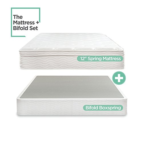 Night Therapy Spring 12 Inch Euro Box Top Mattress and BiFold Box Spring Set, Queen