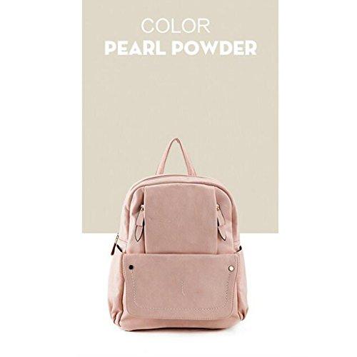 Mochila para mujer de las muchachas de las señoras nueva versión coreana 2017 de los bolsos femeninos de la manera de la universidad del bolso de hombro de la manera de la PU (27 * 13 * 32CM) (color d