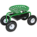 IKAYAA Green Steel Rolling Garden Cart with Swivel Work Seat, Tool Tray Outdoor Scooter for Planting