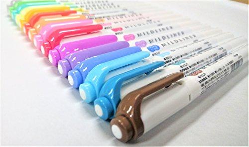 Zebra Mildliner Soft Color Double-Sided Highlighter Pens Deep, Warm & Cool, 15 Color Full Set with Original Vinyl Pen Case by Zebra (Image #4)