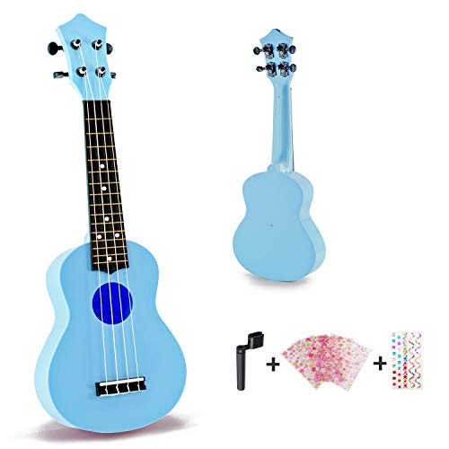 Toy Ukulele Soprano 21 inch Hawaiian Guitar Plastic Ukulele for Children Kids Gift Macaron Color Style-Blue