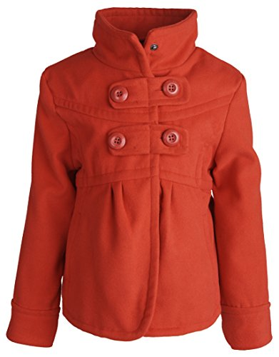 Ruffle Peacoat (dollhouse Little Girls Waisted Dressy Wool Look Winter Pea Coat with Ruffles - Red (Size 5/6))