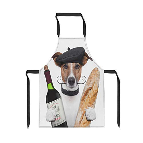 Pinbeam Apron Red Funny French Dog Wine Baguette Beret Food with Adjustable Neck for Cooking Baking Garden from Pinbeam