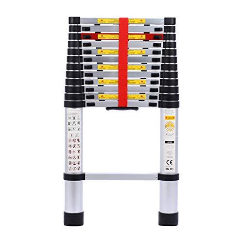 Telescoping ladder 12.5FT Aluminum telescopic Extension Multi Purpose Ladder with Spring Loaded Locking Mechanism EN131 Non-Slip 330 lbs Max Capacity