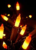 Set of 100 Yellow & Orange Candy Corn Mini Halloween Lights - Brown Wire