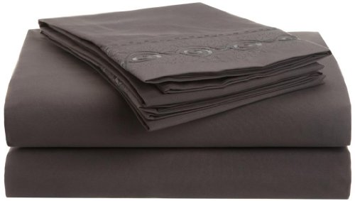 Clark Chain - Clara Clark Premier 1800 Chain Design 4pc Bed Sheet Set - King Size, Charcoal Stone Gray