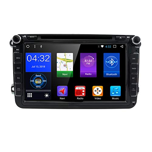 hizpo WiFi Android 7.1 Octa-Core 8 Inch 2GB RAM + 32GB ROM Double Din Car DVD Player for VW Volkswagen Jetta Golf 5 6 Skoda Passat Caddy T5 Seat with Can-Bus,Bluetooth,GPS,RDS,Radio (Best Golf Caddy App Android)