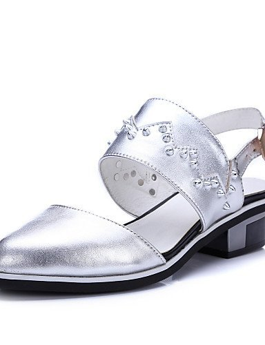 Toe Taupe Casual Shoes Cowhide Silver Flats Slingback Low Pointed ShangYi Silver Heel Women's gOqwxg0H