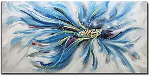 Yotree Paintings,24×48 Inch Rumble Fish 3D Hand-Painted On Canvas Abstract Artwork Art Wood Inside Framed Hanging Wall Decoration Abstract Painting