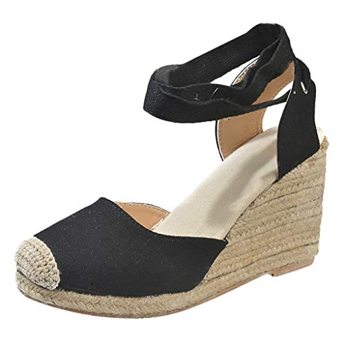 ◕‿◕Water◕‿◕ Sandals for Women,Spring Sandals Wedge Cross Strap High Heel Closed Toe Sandals Platform Pump Shoes Sandals Black