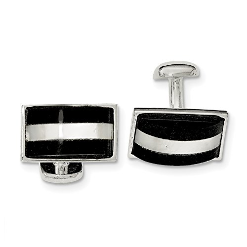 ICE CARATS 925 Sterling Silver Mother Of Pearl Black Onyx Cuff Links Mens Cufflinks Link Man Fine Jewelry Dad Mens Gift Set by ICE CARATS
