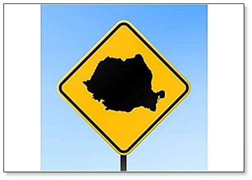 Romania Map On Road Sign classic fridge magnet
