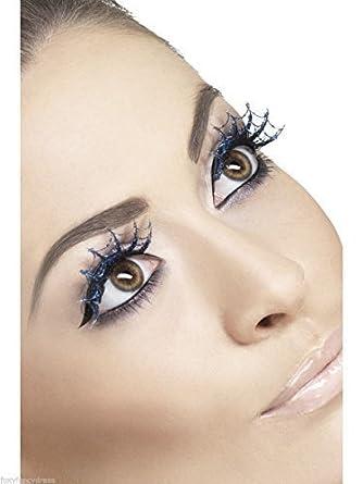 f254a001541 Ladies Blue Spiderweb Glitter Halloween False Eyelashes Party Fancy Dress +  Glue: Smiffys: Amazon.co.uk: Clothing