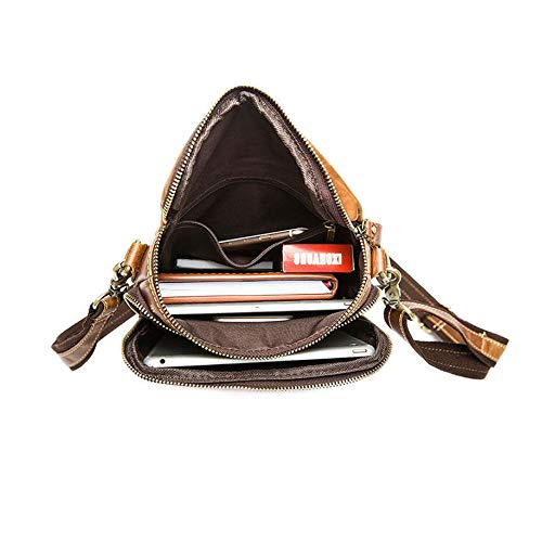 Man Leather Single Bag Messenger Bag Brown Business 02 Leisure Fashion Travel Shoulder Outdoor Haixin fdtpqRxwf