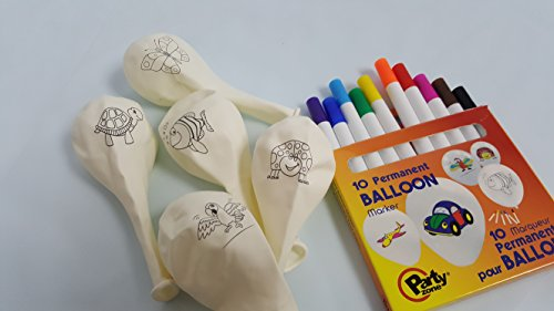 Balloon Markers - Markers with Coloring Balloons - Fun Nature Graphics on Latex Balloons (15-Count) Birthday Party or Kid's Games