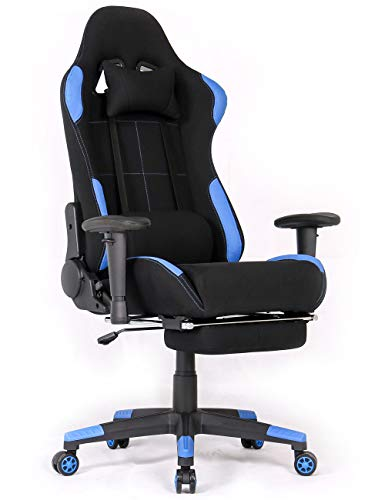 Ergonomic Gaming Chair Racing Style Office Chair Recliner Computer Chair Fabric High-Back E-Sports Chair Height Adjustable Gaming Office Desk Chair with Massage and Footrest (Black/Blue with Footrest)