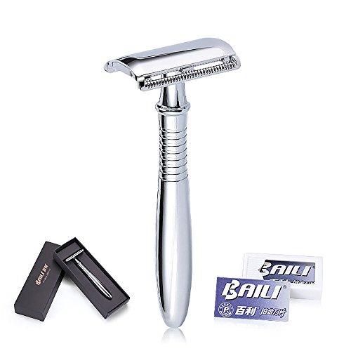 BAILI Classic Chrome Long Handle Men's Shaving Safety Blade Razor Stainless Shaver +5 Platinum Super Blades + Gift Box (long)