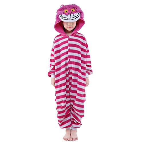 NEWCOSPLAY Halloween Unisex Animal Pyjamas Child Cosplay Costume (85, Cheshire Cat)