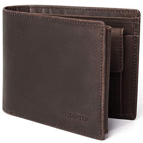 BOSTANTEN Men Leather Wallet RFID Blocking Trifold Cash Card Holder with Coin Pocket Coffee (Wallet Pocket Coin)